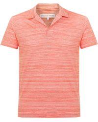 Orlebar Brown - Felix Fine Stripe Pomodoro Ecru Polo Shirt - Lyst