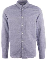 Norse Projects Osvald Bd Cotton Linen Shirt - Blue