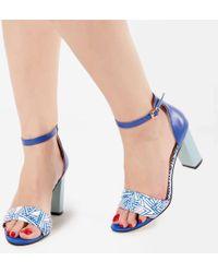 Yull - Mint Patterned Open Toe Heels - Lyst