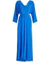 Diane von Furstenberg - Floor Length Silk Wrap Dress - Lyst