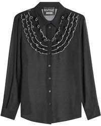 Boutique Moschino - Crepe Blouse With Ruffled Bib - Lyst