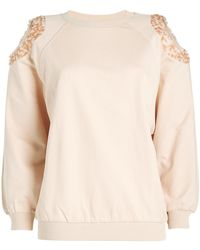 Nina Ricci - Cold-shoulder Cotton Sweatshirt With Sequins - Lyst