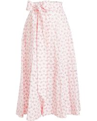 Lisa Marie Fernandez - Cotton Skirt With Eyelet Cut-out Detail - Lyst
