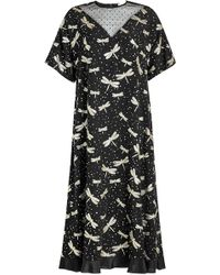 RED Valentino - Printed Silk Dress With Point D'esprit - Lyst