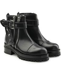 Alexander McQueen - Embellished Leather Ankle Boots - Lyst
