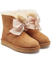 UGG - Gita Bow Suede Boots With Shearling - Lyst