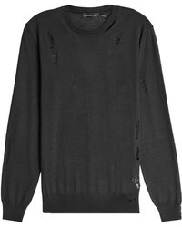 Alexander McQueen - Distressed Wool And Silk Pullover - Lyst