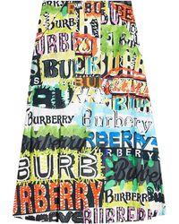 Burberry - Penarth Printed Cotton Midi Skirt - Lyst