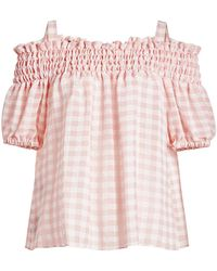 Boutique Moschino - Gingham Off-shoulder Blouse - Lyst
