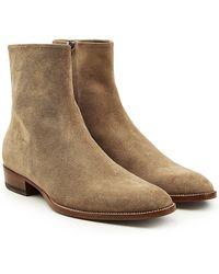 Saint Laurent - Ankle Boots Wyatt aus Veloursleder - Lyst