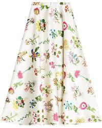 N°21 | Printed Satin Midi Skirt | Lyst