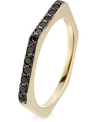 Ileana Makri - 18kt Yellow Gold Ring With Black Diamonds - Lyst