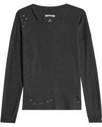 True Religion - Embellished Top With Cotton And Linen - Lyst