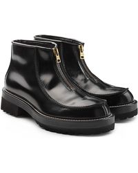 Marni - Glossy Leather Zip Front Boots - Lyst
