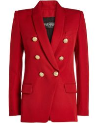 Balmain - Wool Blazer With Embossed Buttons - Lyst