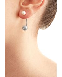 Delfina Delettrez | White Gold Sphere Earring With Diamonds And Pearl | Lyst
