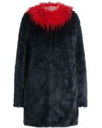 Shrimps - Faux Fur Coat With Contrast Collar - Lyst