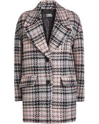 Karl Lagerfeld - Oversized Check Coat With Wool - Lyst