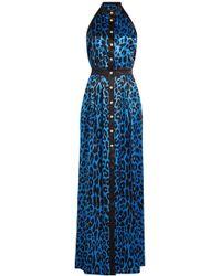 Balmain - Robe longue imprimée boutonnée en soie - Lyst