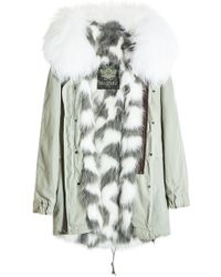 Mr & Mrs Italy - Saline Rosemary Cotton Parka With Raccoon And Fox Fur - Lyst