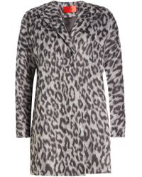 HUGO - Printed Coat With Wool - Lyst