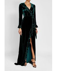 DHELA - Velvet-silk Gown With Ruffle Trim - Lyst