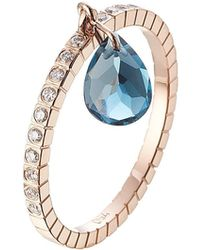 Diane Kordas - 18kt Rose Gold Ring With White Diamonds And Blue Topaz - Lyst