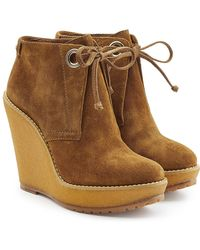 Burberry - Suede Ankle Boot Wedges - Lyst