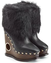 Paloma Barceló - Leather Wedge Boots With Fur - Lyst