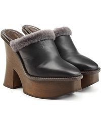 Paloma Barceló - Platform Clogs With Leather - Lyst