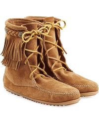 Minnetonka - Double Fringe Tramper Suede Boots With Studs - Lyst