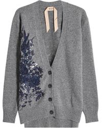 N°21 - Wool Cardigan With Sequins And Embroidery - Lyst