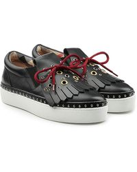 Burberry - Embellished Leather Creeper Trainers - Lyst
