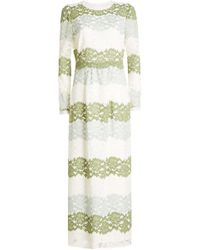 01a2b0bb26 Burberry Long Empire Line Silk Dress in White - Lyst