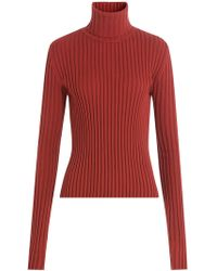 Vetements - Ssense Exclusive Red Ribbed Turtleneck - Lyst
