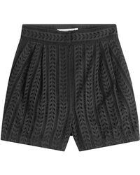 Philosophy Di Lorenzo Serafini - High-waisted Cotton Eyelet Shorts - Lyst