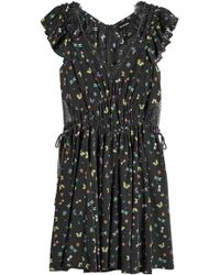 The Kooples - Printed Silk Dress With Lace - Lyst