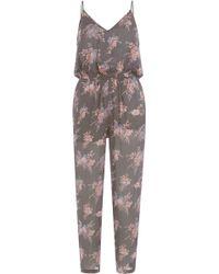 Mes Demoiselles - Printed Silk Jumpsuit - Florals - Lyst