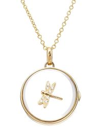 Loquet London - 14kt Round Locket With 18kt Gold Charm And Diamonds - Lyst