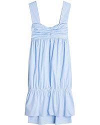 Victoria, Victoria Beckham - Gathered Stripe Cotton Dress - Lyst