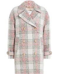 Closed - Manteau à carreaux avec laine et coton - Lyst