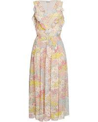 0b1c1eb34ba Lyst - RED Valentino Floral Jacquard Metallic Midi Dress in Pink