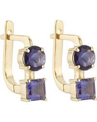 Ileana Makri - 18k Yelow Gold Earrings With Lolites - Lyst