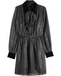 Anna Sui - Dress With Metallic Thread And Velvet - Lyst