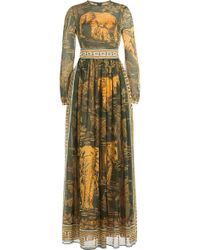 Valentino - Cotton Floor-length Printed Dress - Lyst