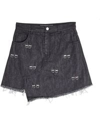 Sandy Liang - Distressed Denim Skirt With Embellishment - Lyst