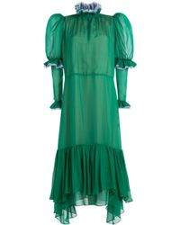 Natasha Zinko - Silk Chiffon Dress With Ruffles - Lyst