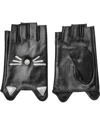 Karl Lagerfeld - K/ikonik Embellished Fingerless Leather Gloves - Lyst