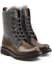 Brunello Cucinelli - Leather Ankle Boots With Tweed - Lyst