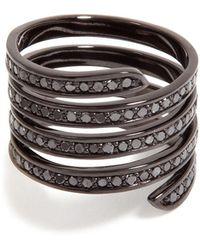 Lynn Ban - Black Rhodium Pavé Coil Ring - Lyst
